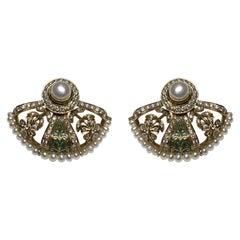 Pearl, Diamond, and Green Enamel Earrings in 18 Karat Gold