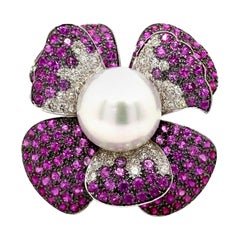 Pearl, Diamond, and Ruby Floral Ring 18 Karat White Gold