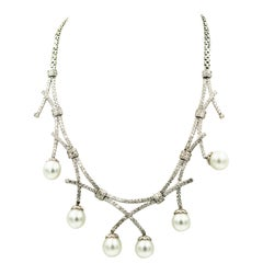Pearl Diamond Bib White Gold Necklace
