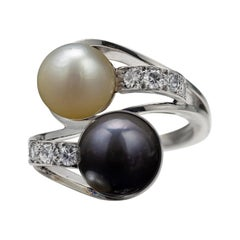 Pearl & Diamond Bypass Ring Midcentury French GIA Certified