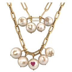 Pearl Diamond Charm Link Necklace 14 Karat Yellow Gold