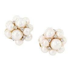 Pearl Diamond Cluster Earrings