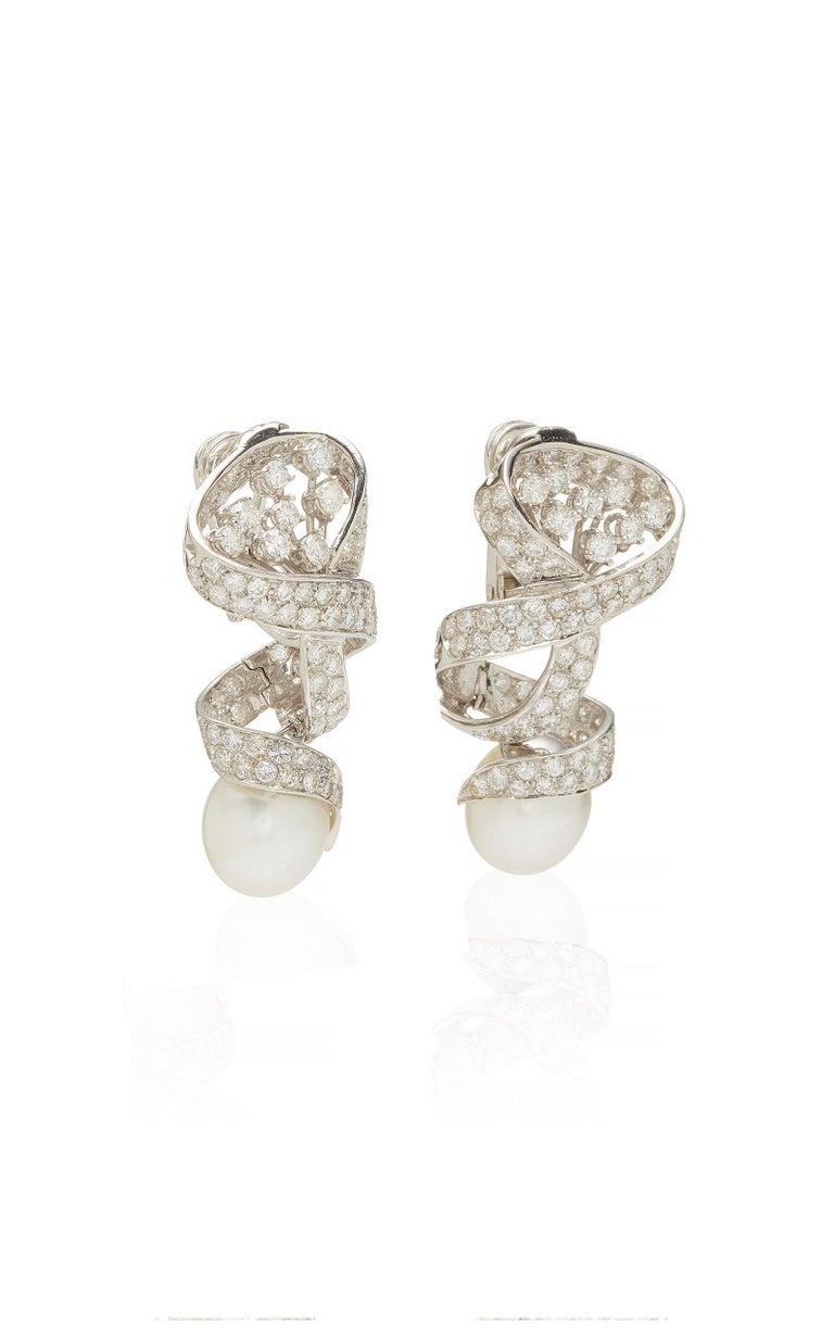 Women's Pearl Diamond Ear Pendants For Sale