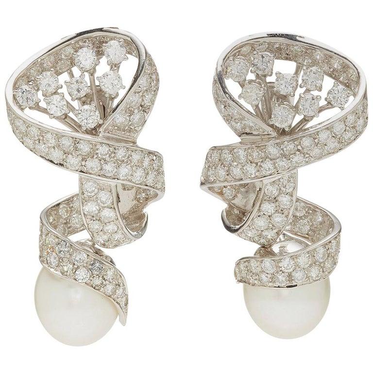 Pearl Diamond Ear Pendants For Sale