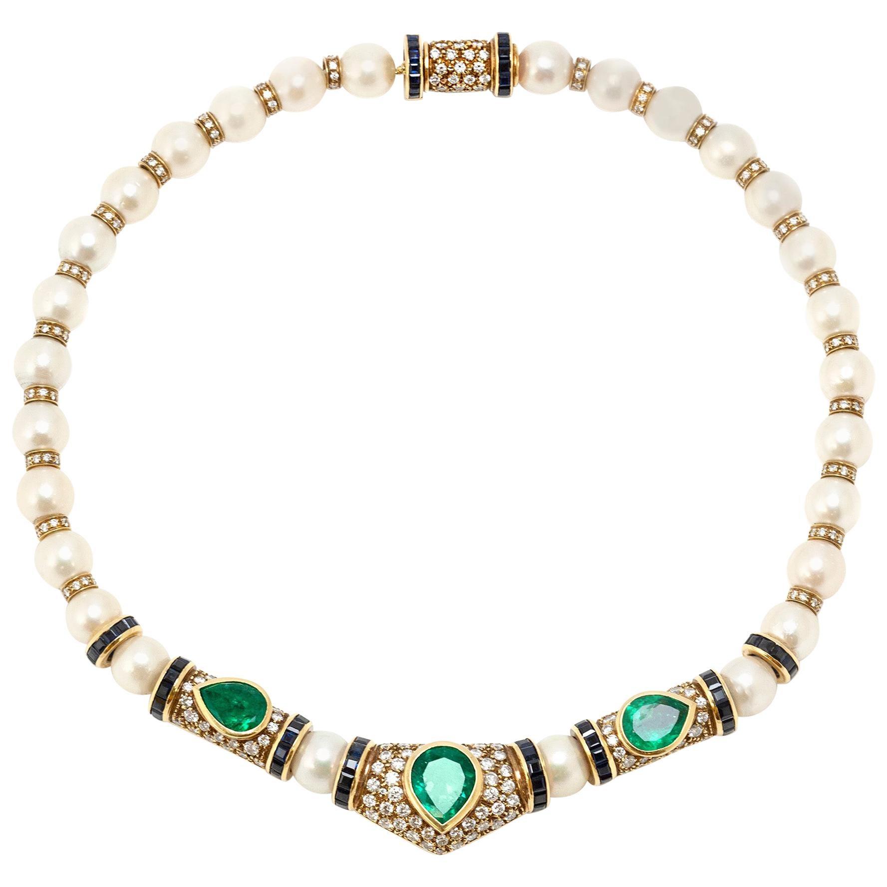 Pearl Diamond Emerald Necklace