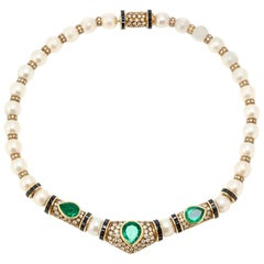 Pearl Diamond Emerald Necklace