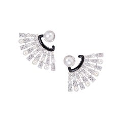 Pearl Diamond Fan Earring