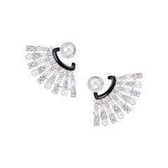 Pearl Diamond Fan Earring
