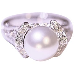 Pearl Diamond Fashion Ring Cocktail Ring 14 Karat White Gold