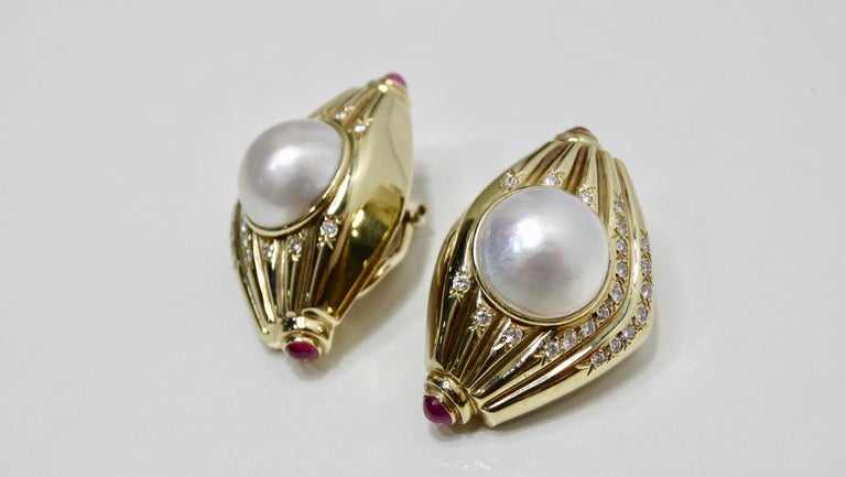 Pearl & Diamond French Clip Earrings  For Sale 5