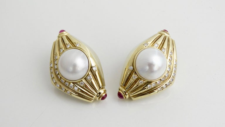 Pearl & Diamond French Clip Earrings  For Sale 6