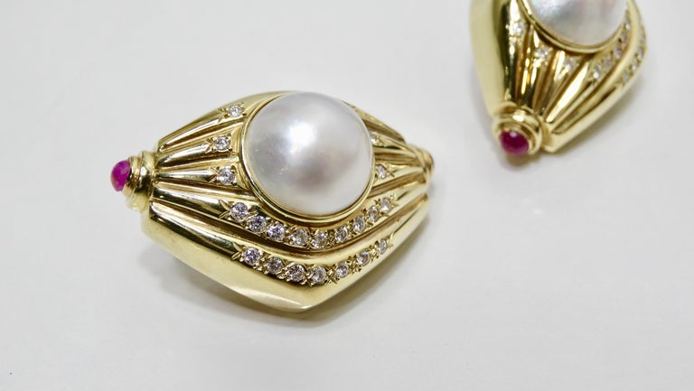 Cabochon Pearl & Diamond French Clip Earrings  For Sale