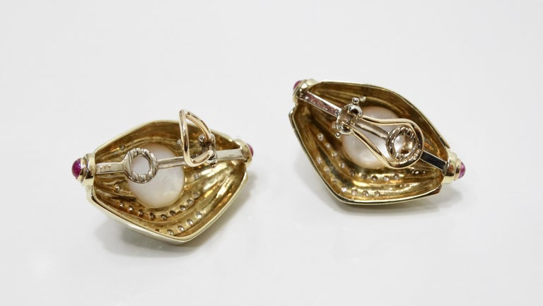 Women's or Men's Pearl & Diamond French Clip Earrings  For Sale