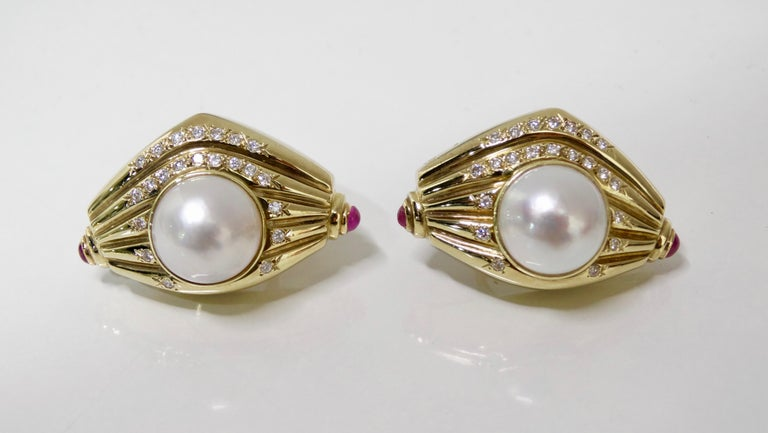Pearl & Diamond French Clip Earrings  For Sale 1