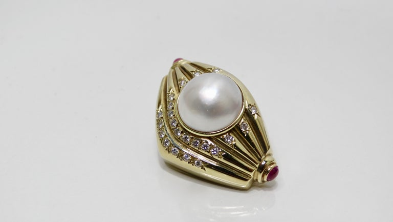 Pearl & Diamond French Clip Earrings  For Sale 3