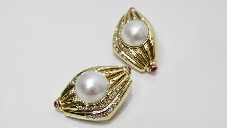Pearl & Diamond French Clip Earrings  For Sale 4