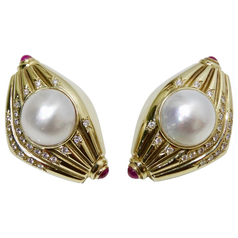 Pearl & Diamond French Clip Earrings  For Sale