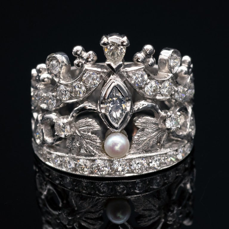 Pearl Diamond Gold Crown Ring For Sale At 1stdibs