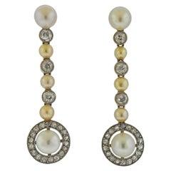 Pearl Diamond Gold Drop Earrings
