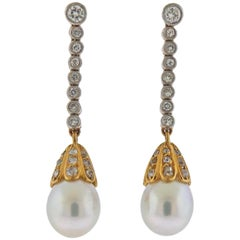 Pearl Diamond Gold Drop Earrings