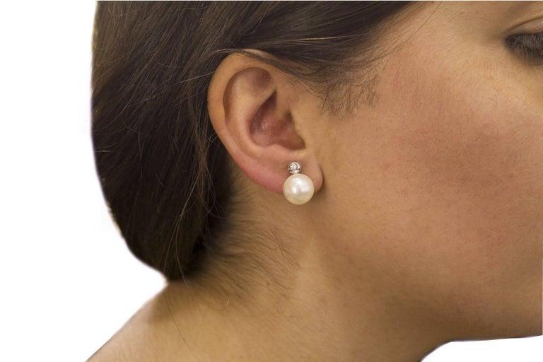 Pearl Diamond Gold Earrings For Sale 4