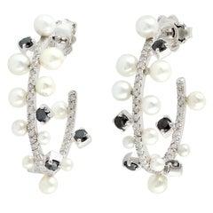 Pearl Diamond Gold Hoop Earrings