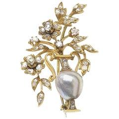 Pearl Diamond Gold Jardiniere Brooch