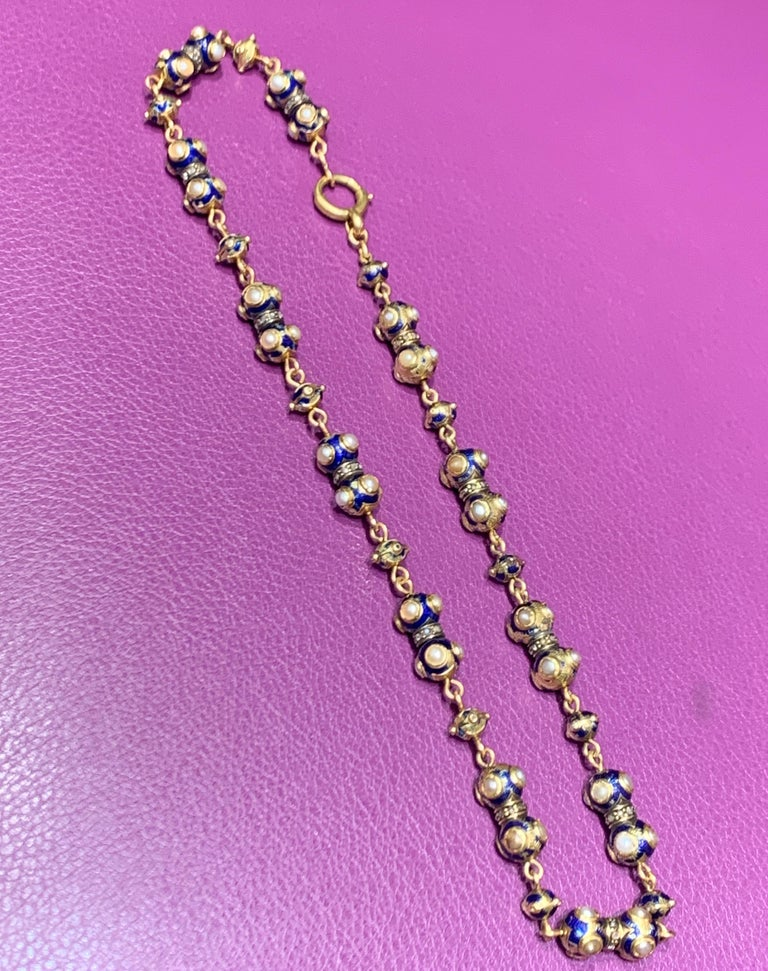 Round Cut Pearl and Diamond Gold Necklace For Sale