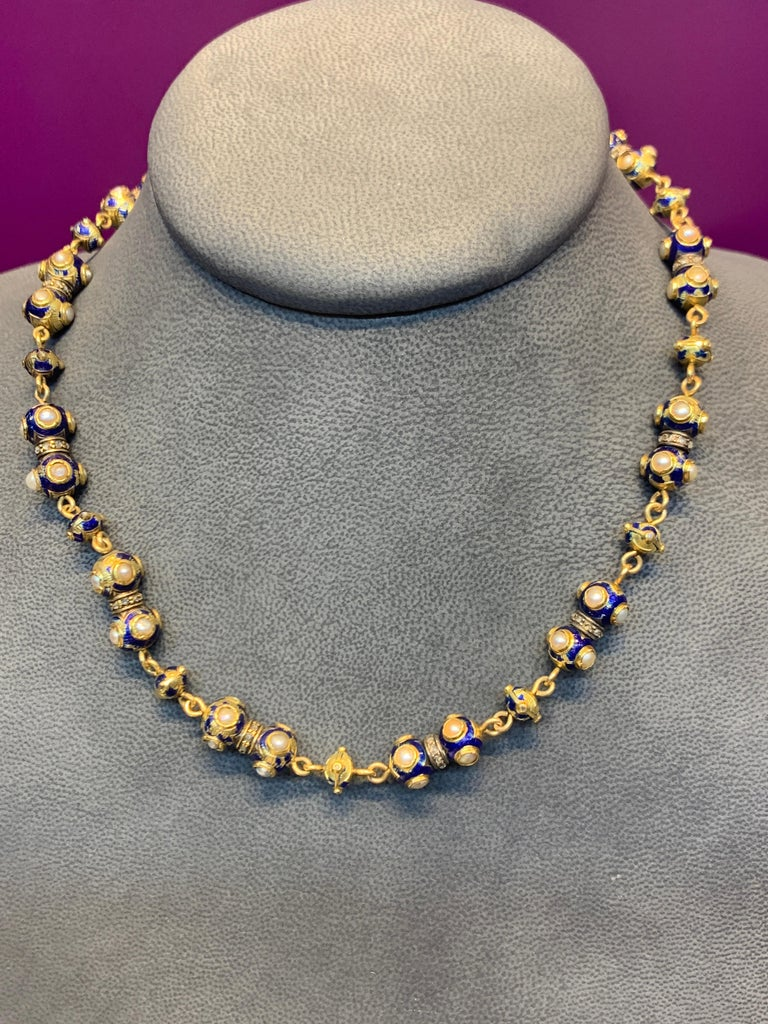 Pearl and Diamond Gold Necklace In Fair Condition For Sale In New York, NY