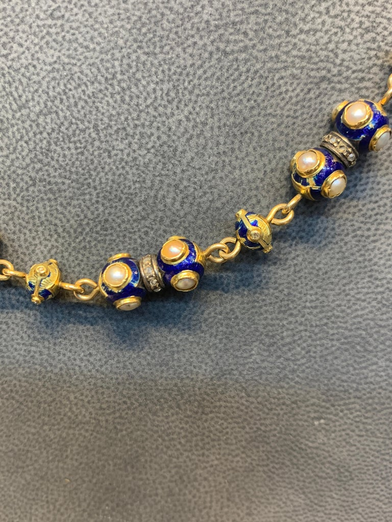 Women's or Men's Pearl and Diamond Gold Necklace For Sale