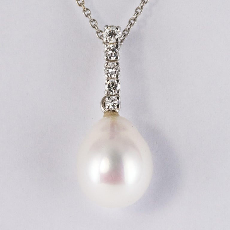 Pearl Diamond Gold Pendant In New Condition For Sale In Poitiers, FR