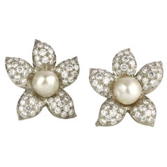 Pearl Diamond Gold Platinum Flower Earrings