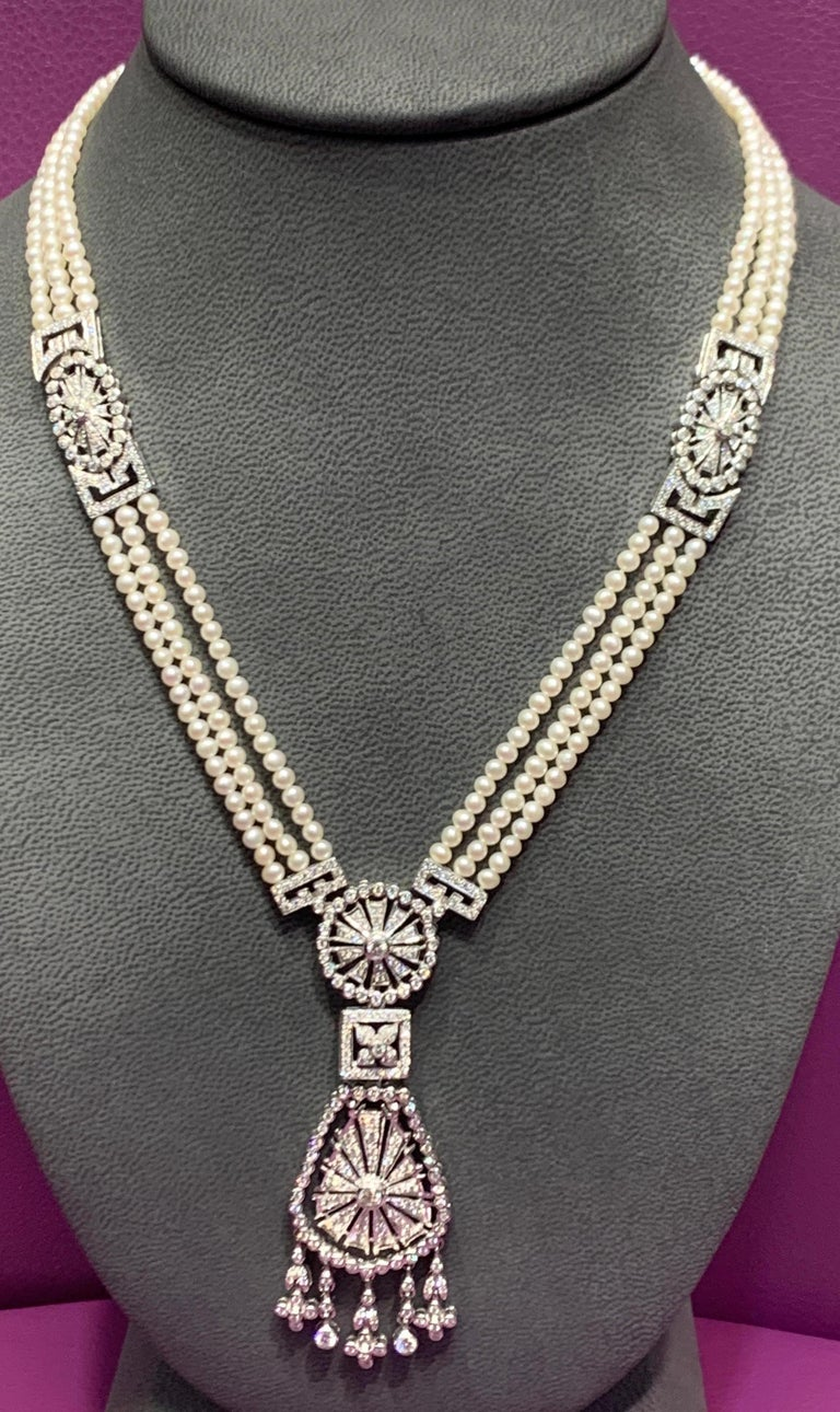 Round Cut Pearl and Diamond Multi Strand Drop Necklace For Sale