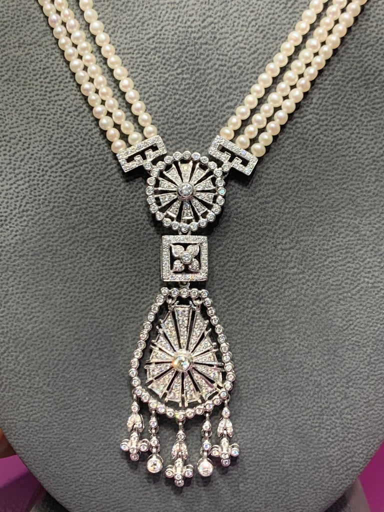 Pearl and Diamond Multi Strand Drop Necklace In Excellent Condition For Sale In New York, NY