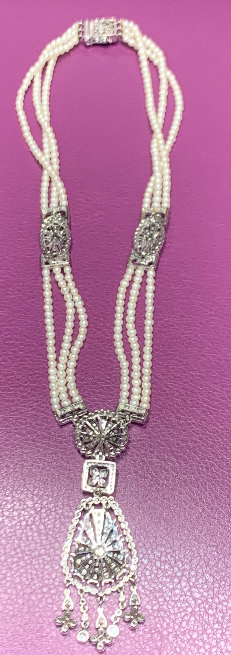Women's Pearl and Diamond Multi Strand Drop Necklace For Sale