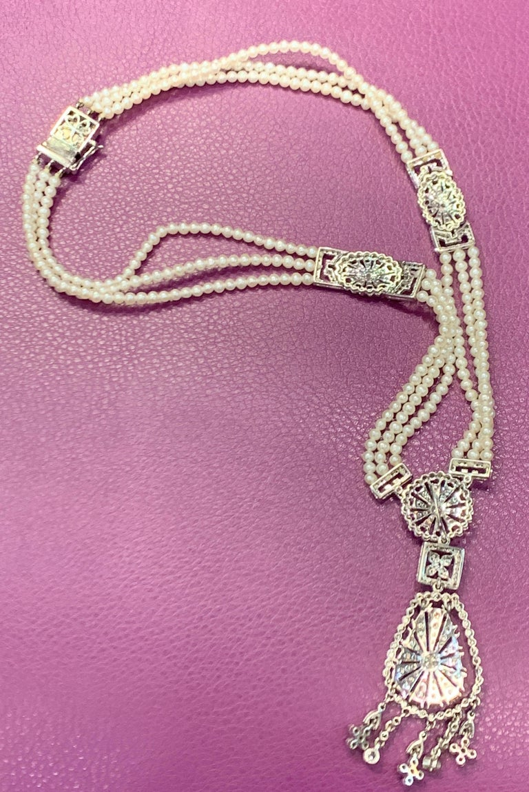 Pearl and Diamond Multi Strand Drop Necklace For Sale 1