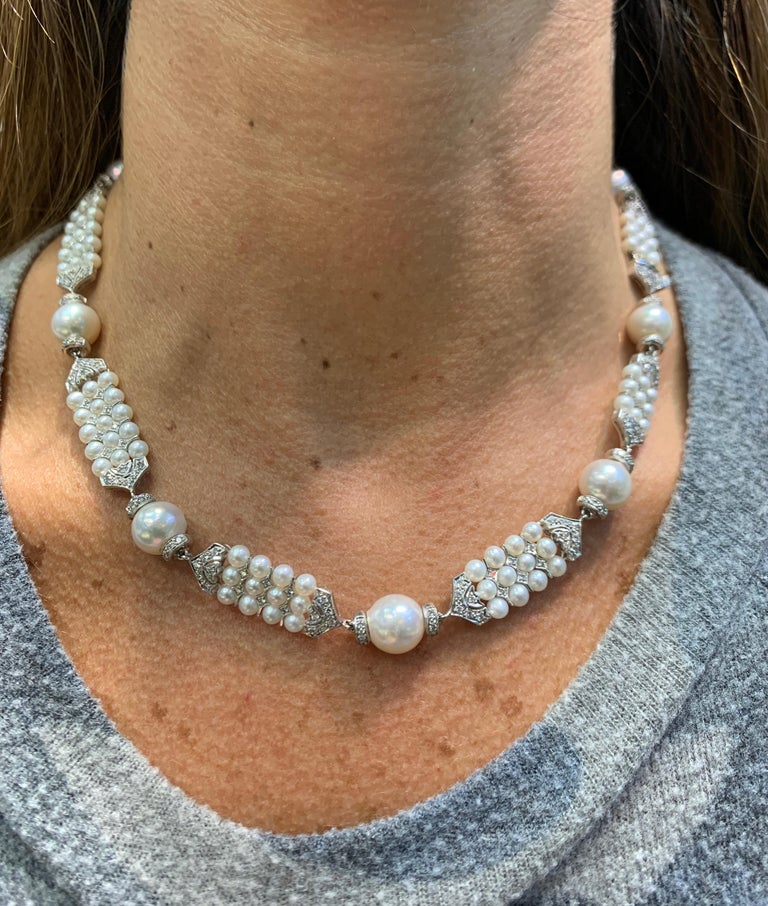 Bead Pearl and Diamond Necklace For Sale