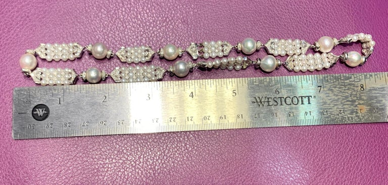 Pearl and Diamond Necklace In Excellent Condition For Sale In New York, NY