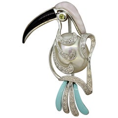Pearl Diamond Onyx Turquoise Gold Toucan Brooch