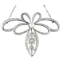 Pearl Diamond Platinum Belle Époque Necklace, circa 1910