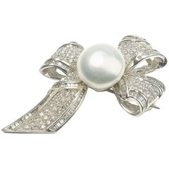 Pearl Diamond Platinum Bow Brooch