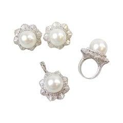 Pearl & Diamond Ring, Pendant and Earring Set 11.5 Carats Total 14 Karat Gold