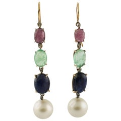Pearl Diamond Ruby Sapphire Emeralds Rose Gold and Silver Earrings