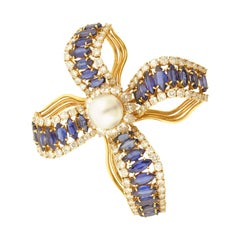 Pearl Diamond Sapphire and Gold Brooch