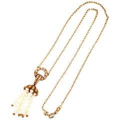 Pearl Diamond Tassel Drop Pendant Necklace 18 Karat Yellow Gold