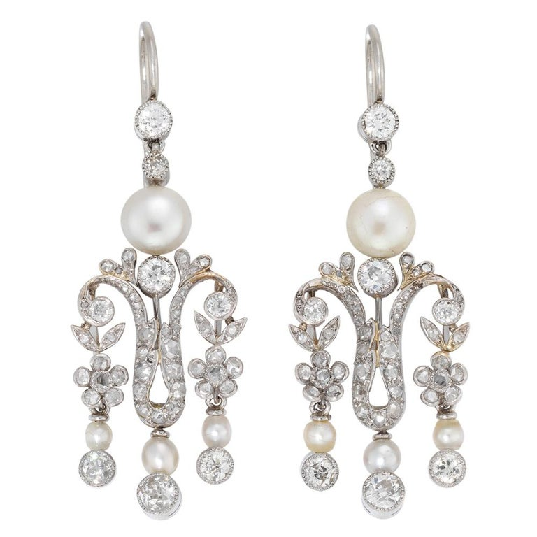 Pearl Diamond Victorian Drop Earrings In Excellent Condition For Sale In London, GB