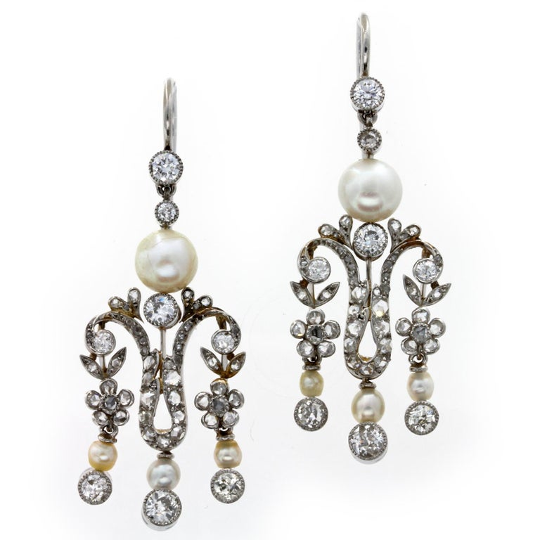 Women's Pearl Diamond Victorian Drop Earrings For Sale