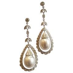 Pearl Diamond White Gold Dangle Earrings
