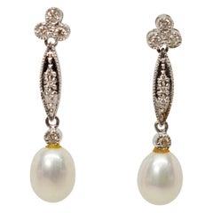 Pearl Diamond White Gold Drop Earrings