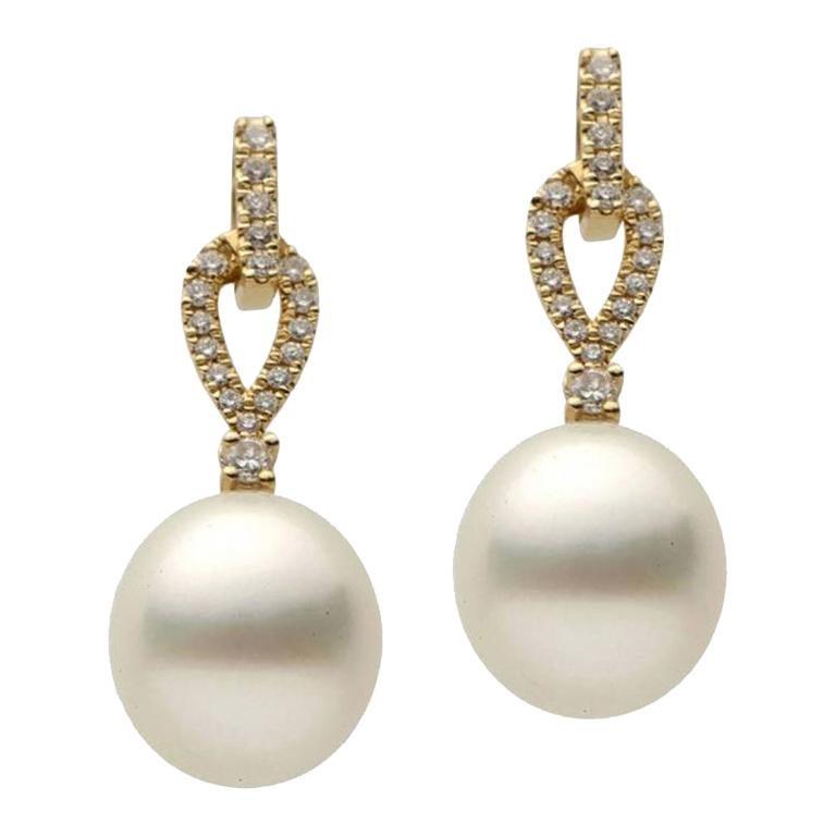 Pearl Diamond Yellow Gold Dangle Drop Earrings